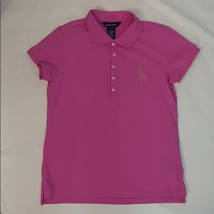 Girl's Pink Ralph Lauren Beaded Polo Shirt XL-16